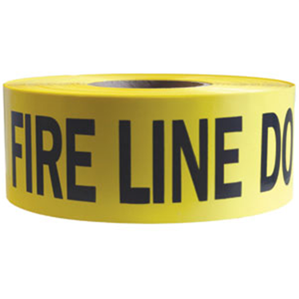 "Barricade Tape, 2.5 mil, ""Fire Line Do Not Cross"", Yellow, 8/Case"